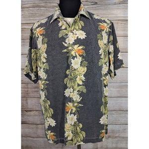 Tommy Bahama Grey Hawaiian Silk Button Camp Shirt